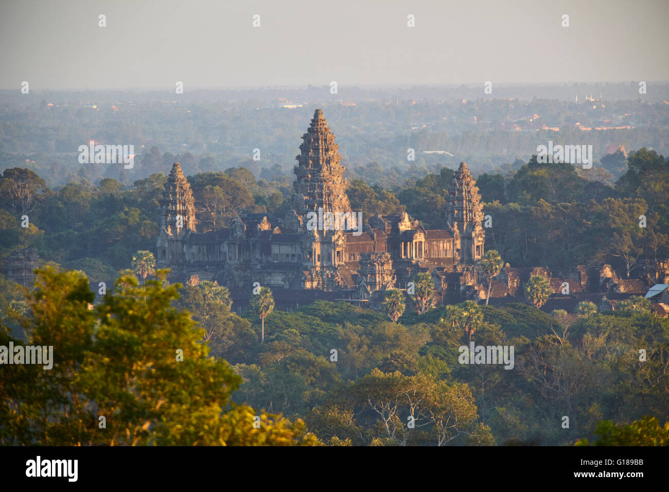 Aerial view of Angkor Wat temple, Siem Reap, Cambodia - Stock Image