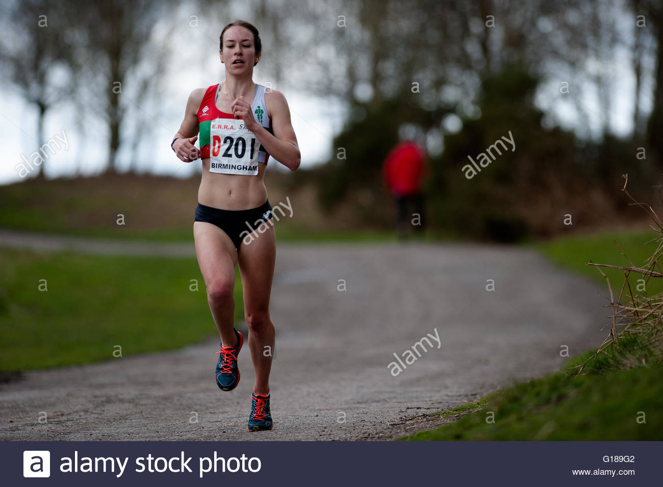Stephanie Twell runs a leg of the 6 stage relays - Stock Image