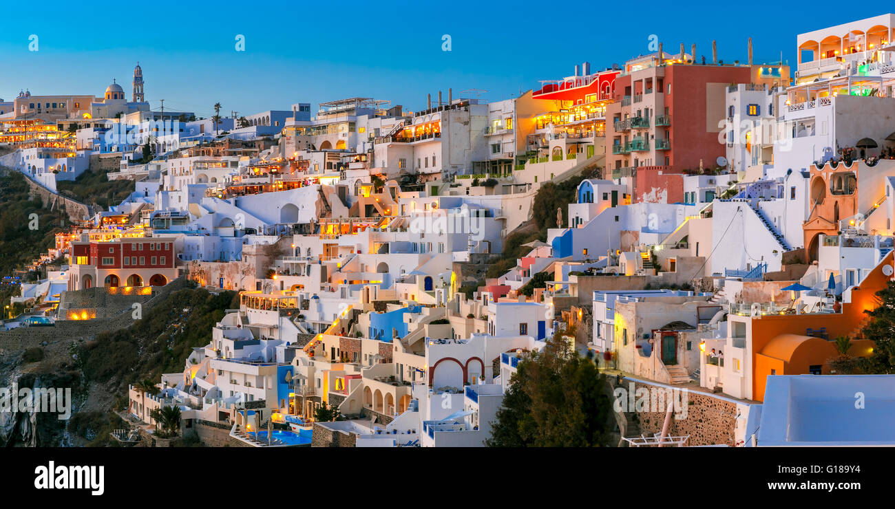 Fira, main town of Santorini at night, Greece - Stock Image
