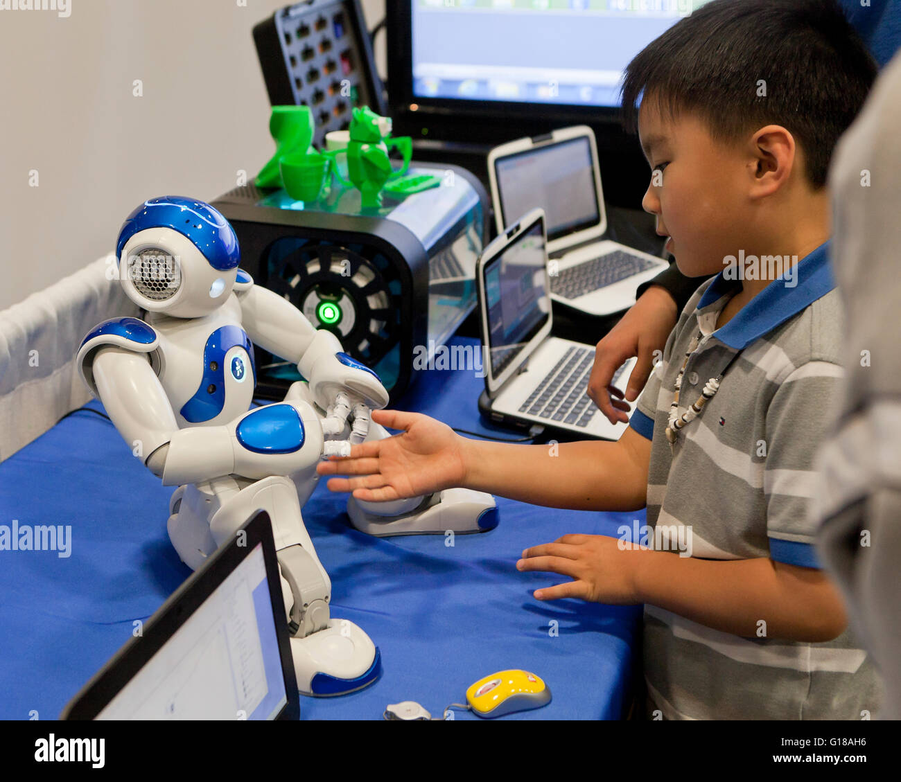 Child interacting with humanoid robot at a science and engineering fair - USA - Stock Image