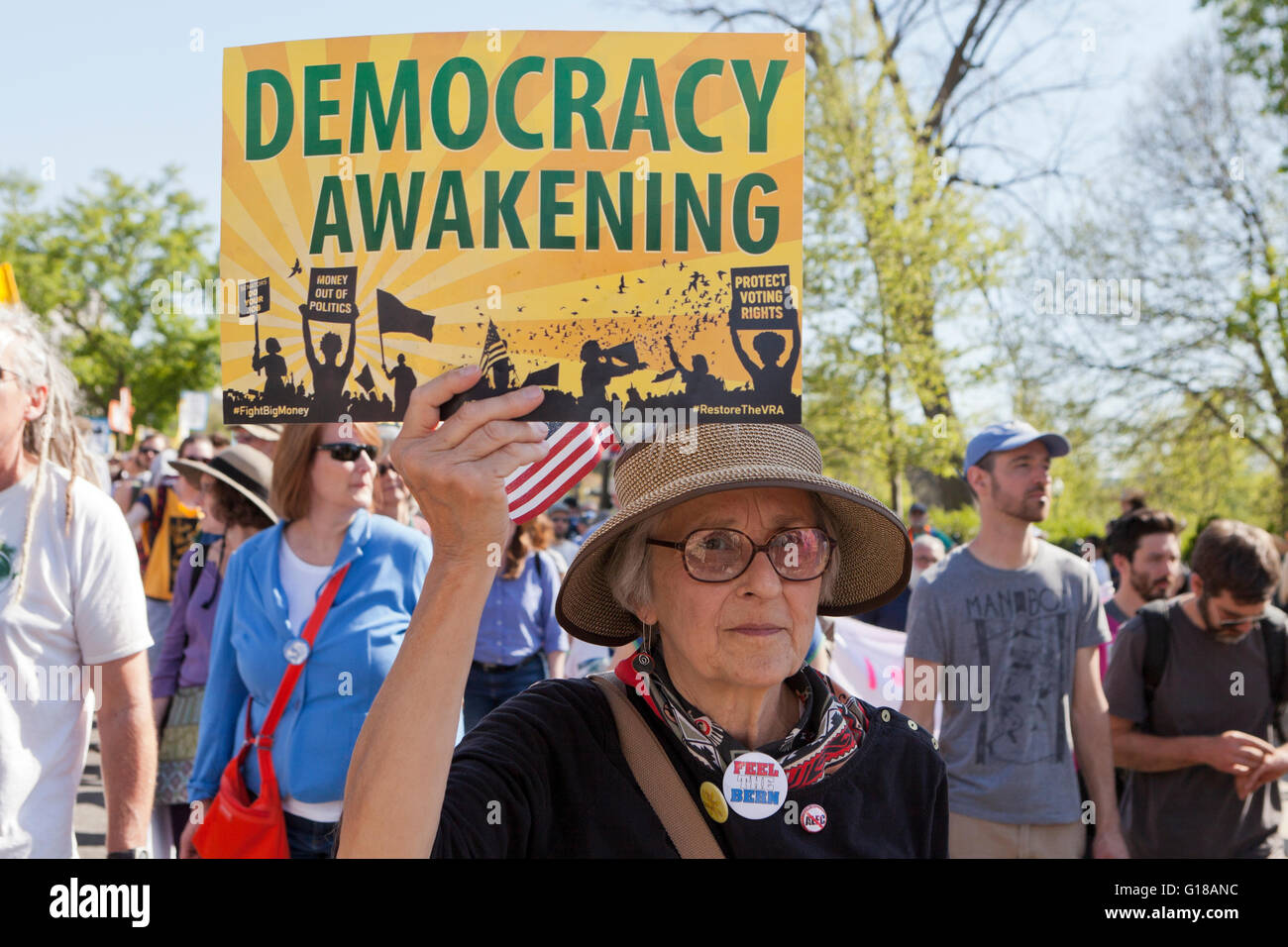 Washington, DC, USA. 17th April, 2016.Hundreds of Democracy Spring activists protest on Capitol Hill - Stock Image