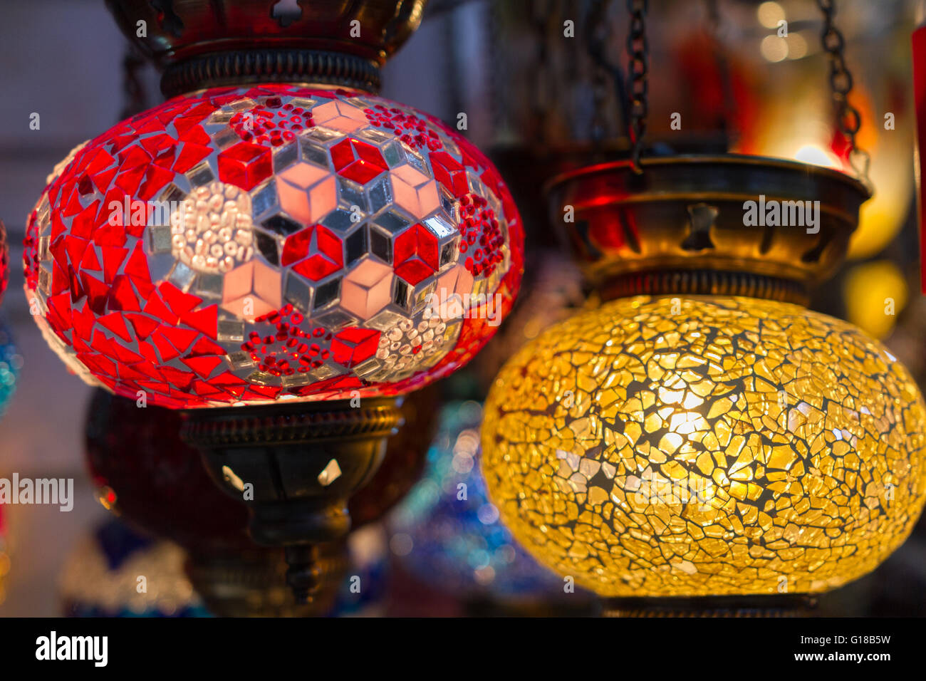 Traditional stained glass oriental lampshades in a shop in plaka traditional stained glass oriental lampshades in a shop in plaka district in athens greece aloadofball Choice Image