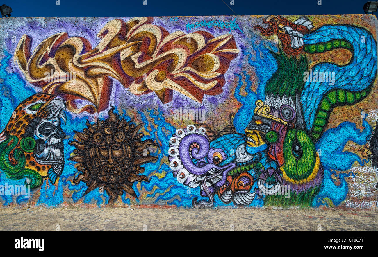 Urban Art Depicting Mexican Indians And Sun In The Spanish Colonial