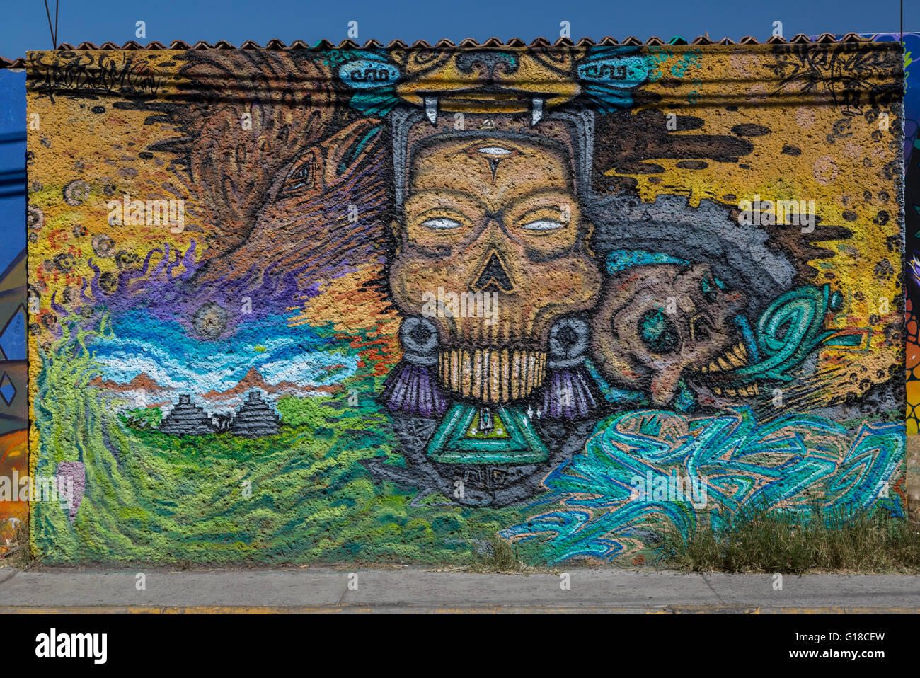 Urban Art Depicting Mexican Indian In The Spanish Colonial City Of