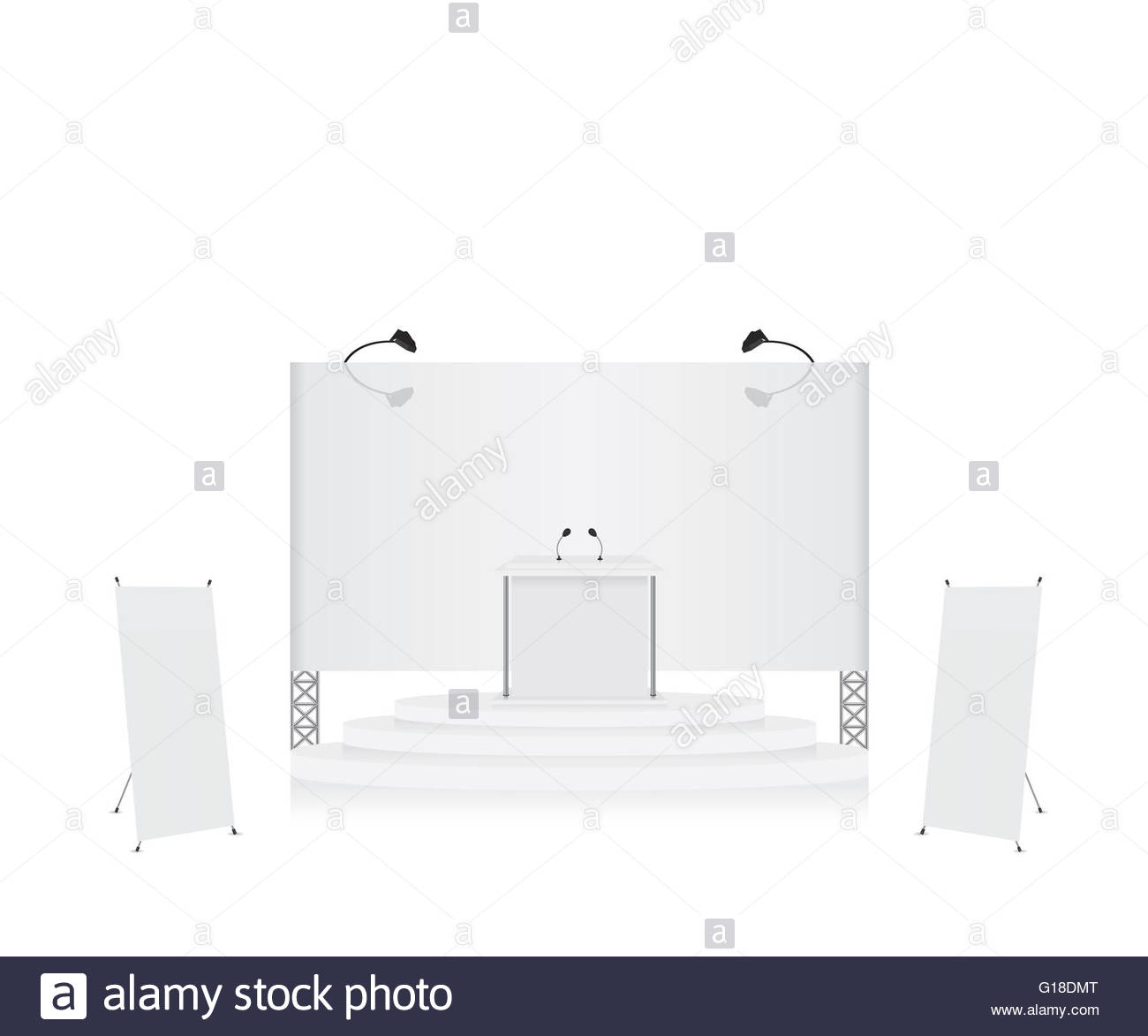 Exhibition Stand Drawing : Podium trade exhibition stand and x stand banner illustration stock