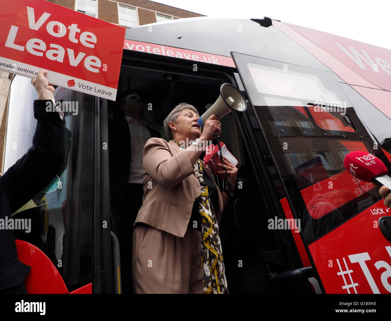 Exeter UK 11 May 2016 Brexit Battle Bus arrives in Exeter. Gisela Stewart Labour MP addresses the crowd Credit: - Stock Image