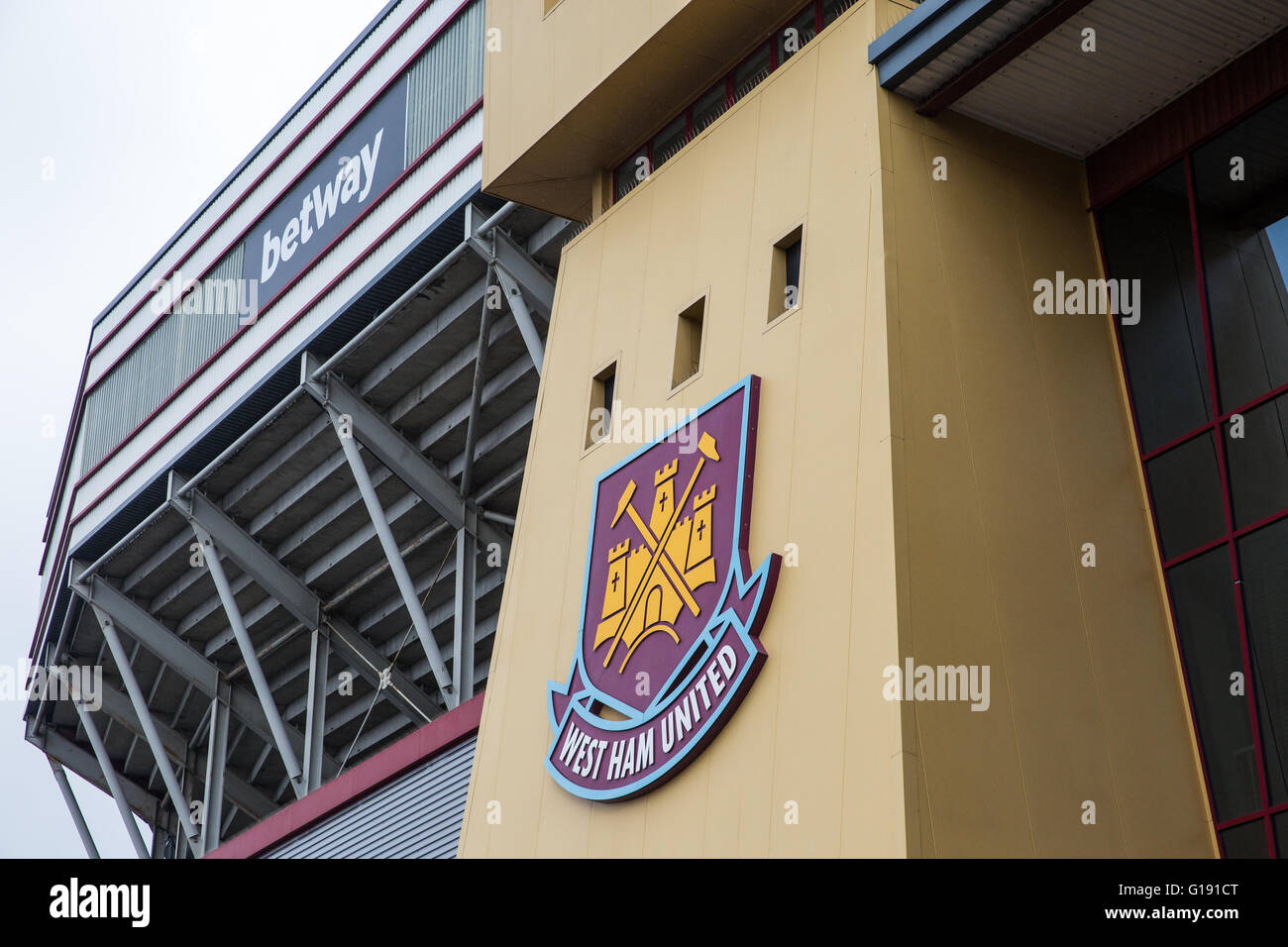 London, UK. 10th May, 2016. The Boleyn Ground on the morning of the final match to be played there by West Ham United. - Stock Image
