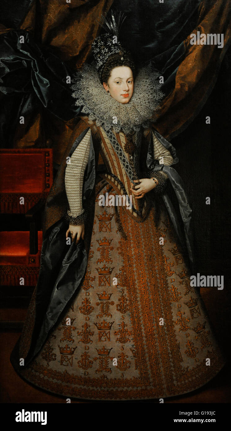 Frans Pourbus the Younger (1569-1622). Flemish painter. Portrait of Margaret of Savoy, Duchess of Mantua. 1608. - Stock Image