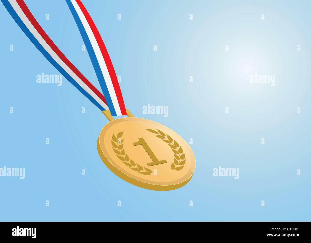number one gold medal with ribbon on blue background. vector eps 10 - Stock Vector