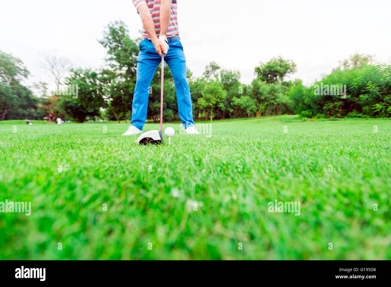 Golfer getting ready to take a shot. Wide angle photo - Stock Image