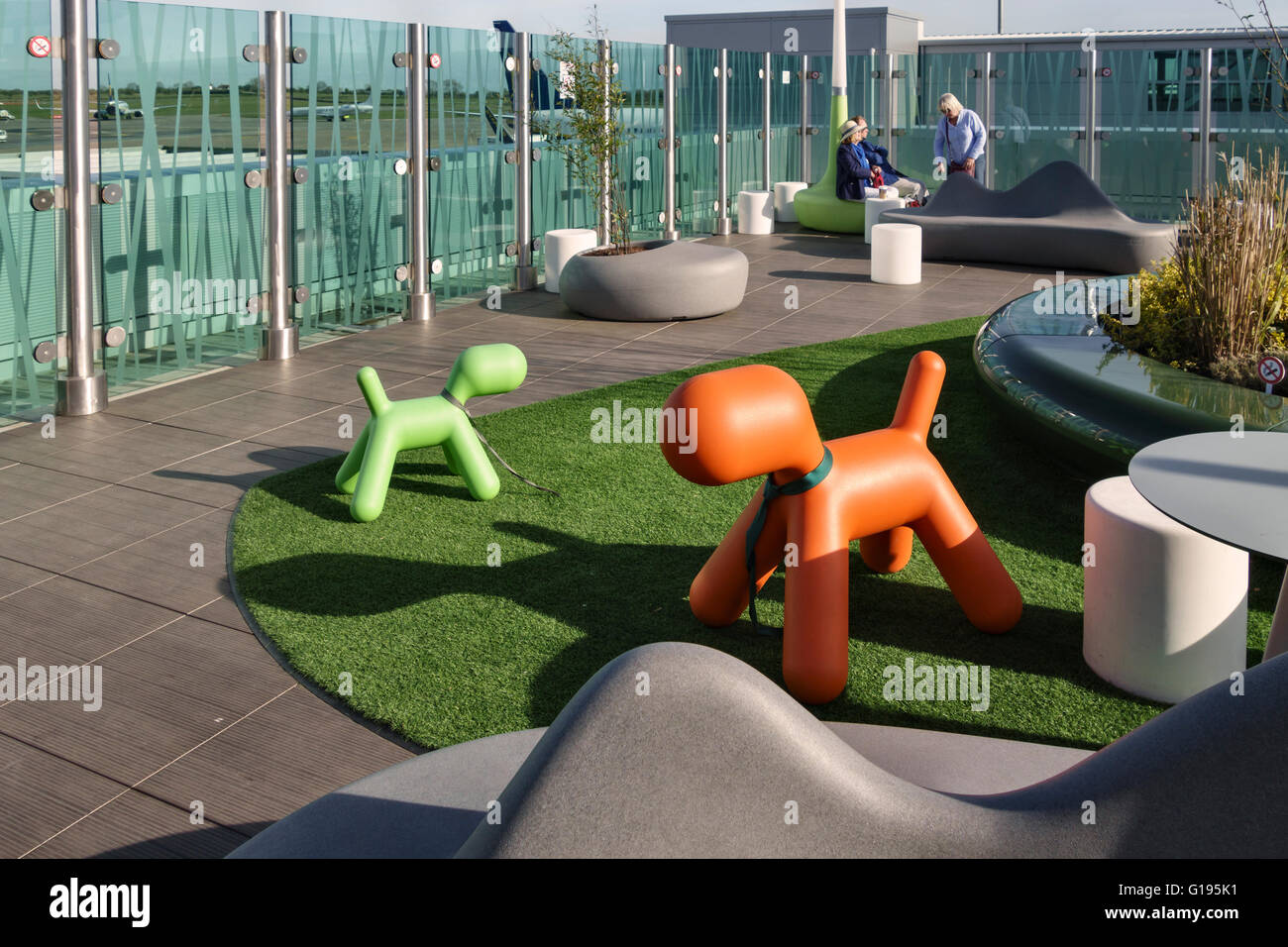 Bristol Airport, UK. The new roof terrace for passengers - Stock Image