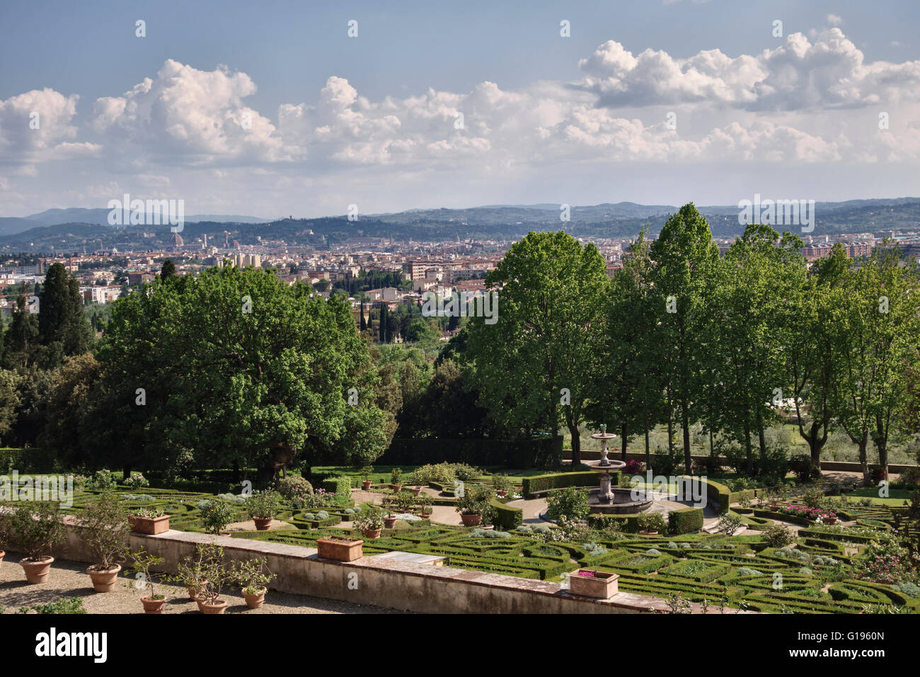 Florence, Italy. Medici Villa della Petraia (La Petraia). The formal terraced gardens overlooking the city Stock Photo
