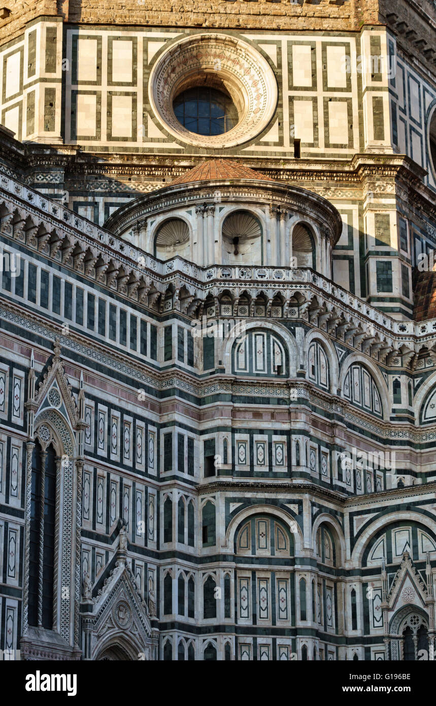 Florence, Italy. The Duomo (Cathedral), begun in 1296 and completed in 1436, is clad in coloured marble - Stock Image
