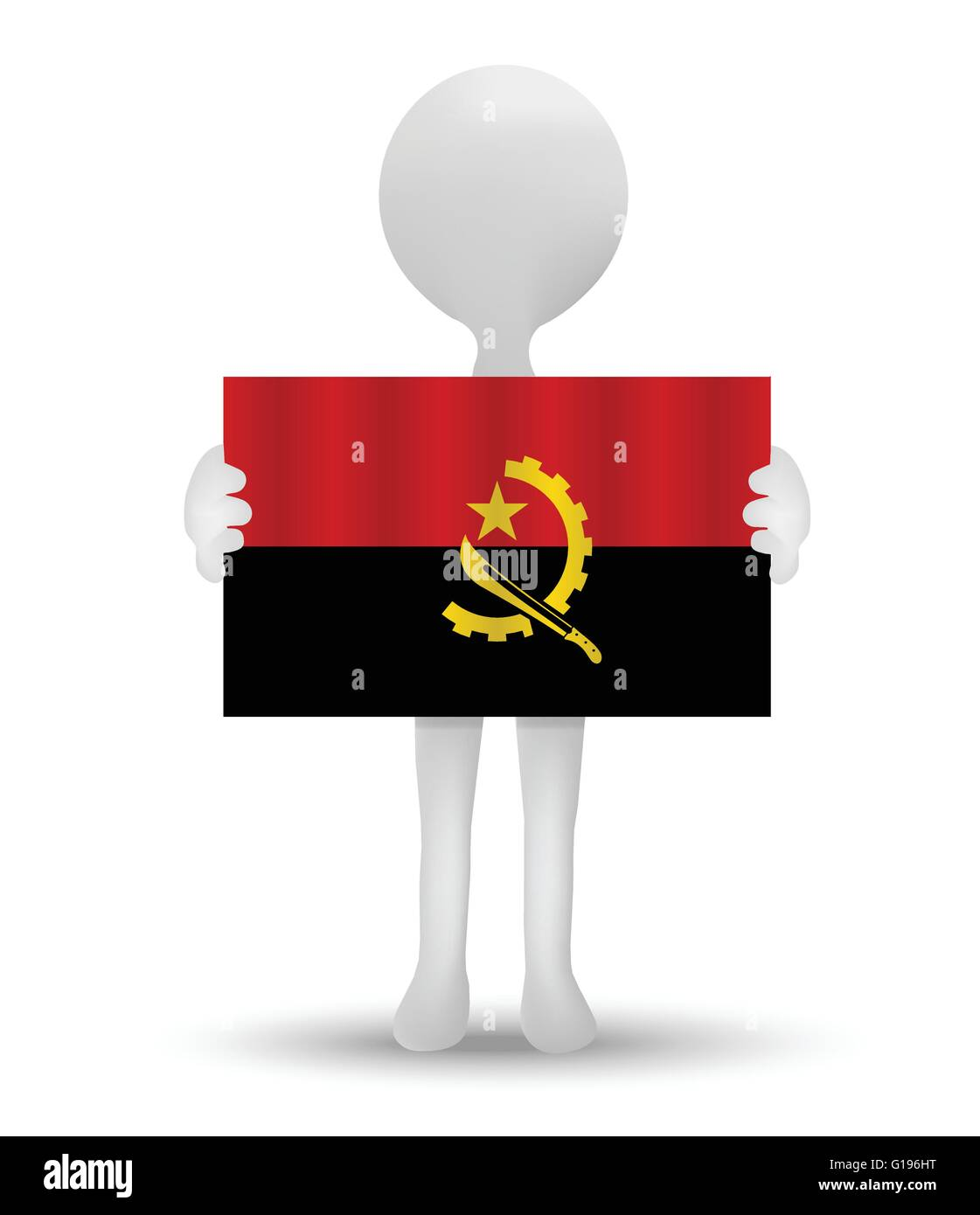 small 3d man holding a flag of Republic of Angola - Stock Image