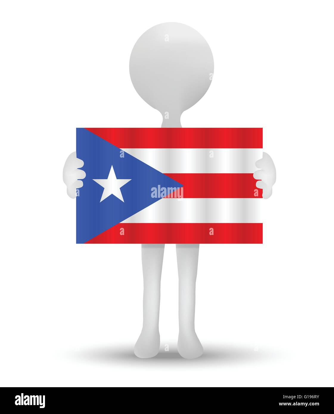 small 3d man holding a flag of Freely Associated State of Puerto Rico - Stock Image