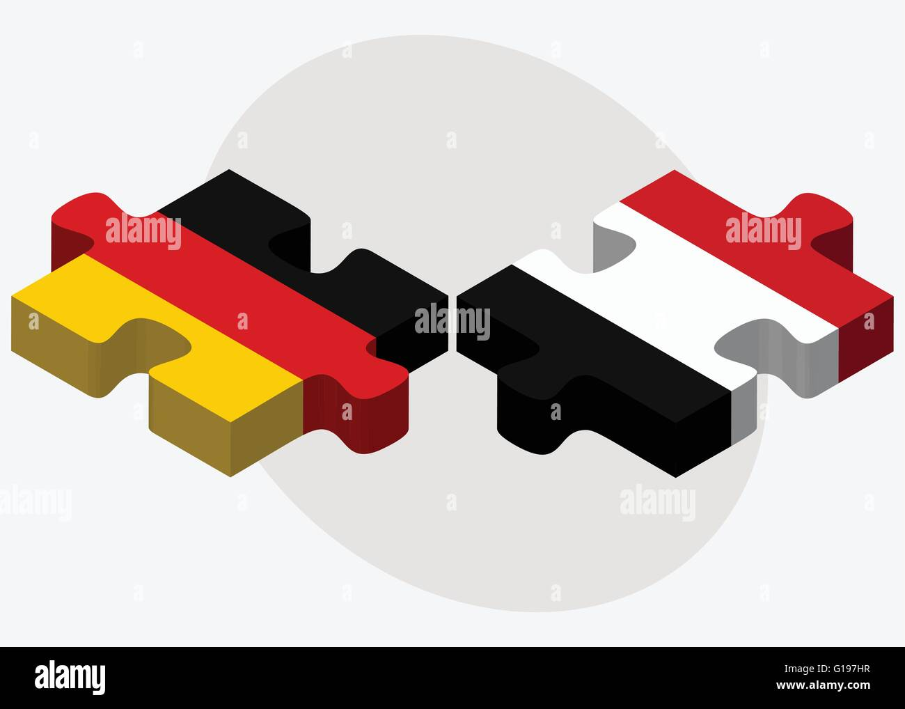 Germany and Yemen Flags in puzzle isolated on white background - Stock Vector