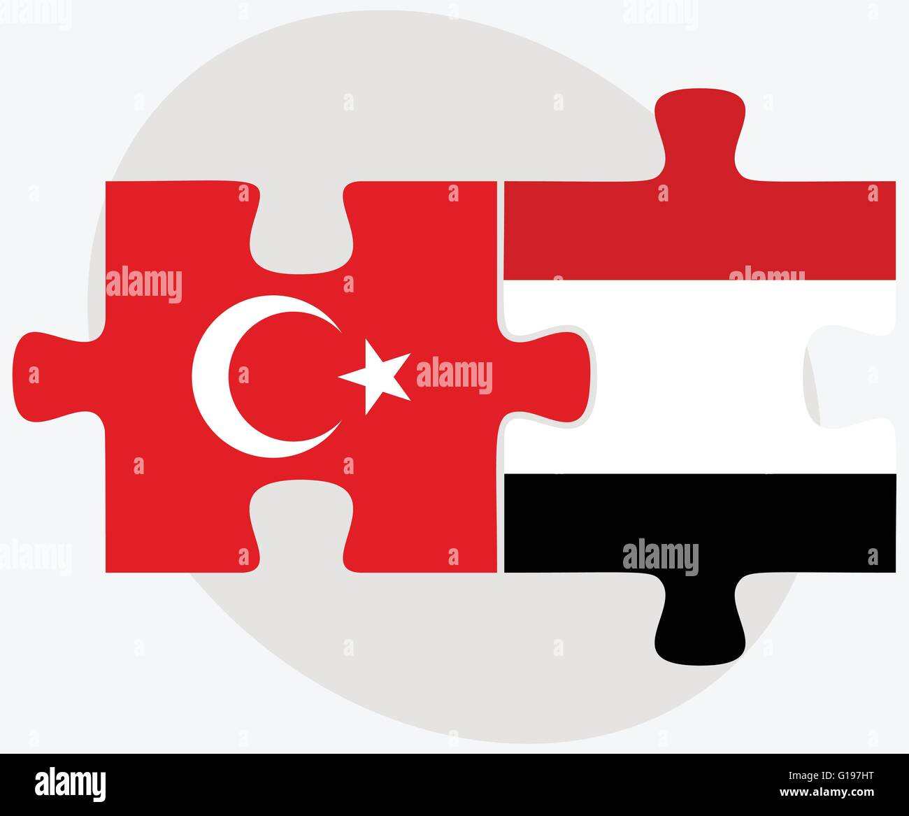Turkey and Yemen Flags in puzzle isolated on white background - Stock Vector