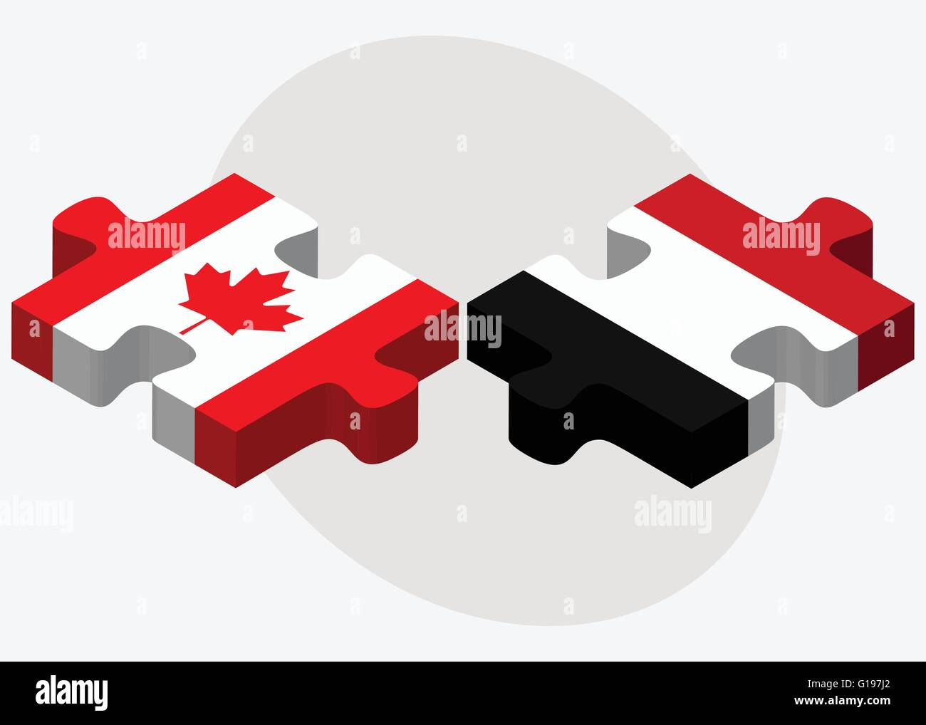 Canada and Yemen Flags in puzzle isolated on white background - Stock Vector