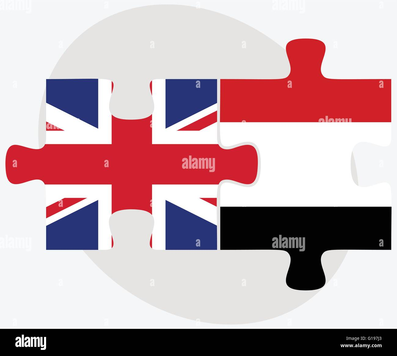 United Kingdom and Yemen Flags in puzzle isolated on white background - Stock Vector