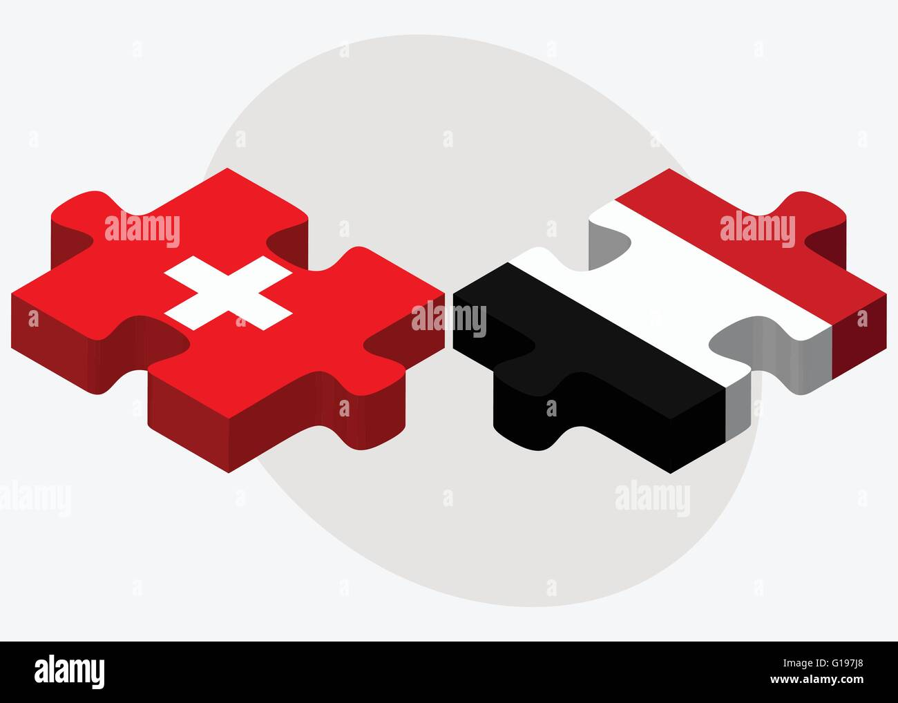 Switzerland and Yemen Flags in puzzle isolated on white background - Stock Vector