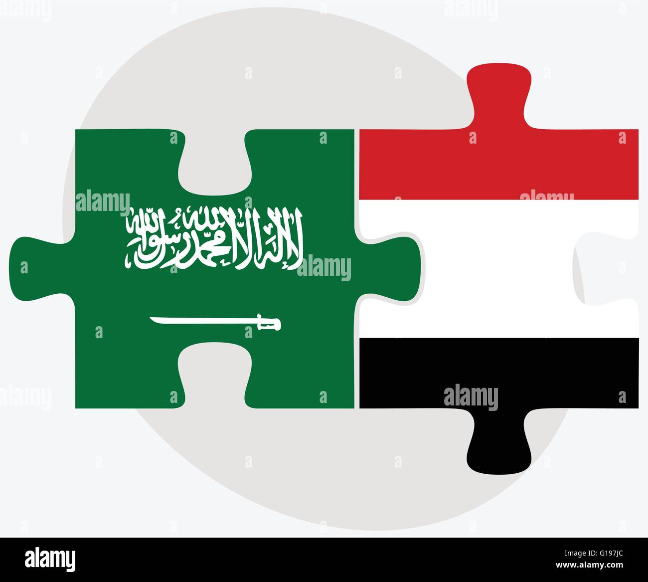 Saudi Arabia and Yemen Flags in puzzle isolated on white background - Stock Vector