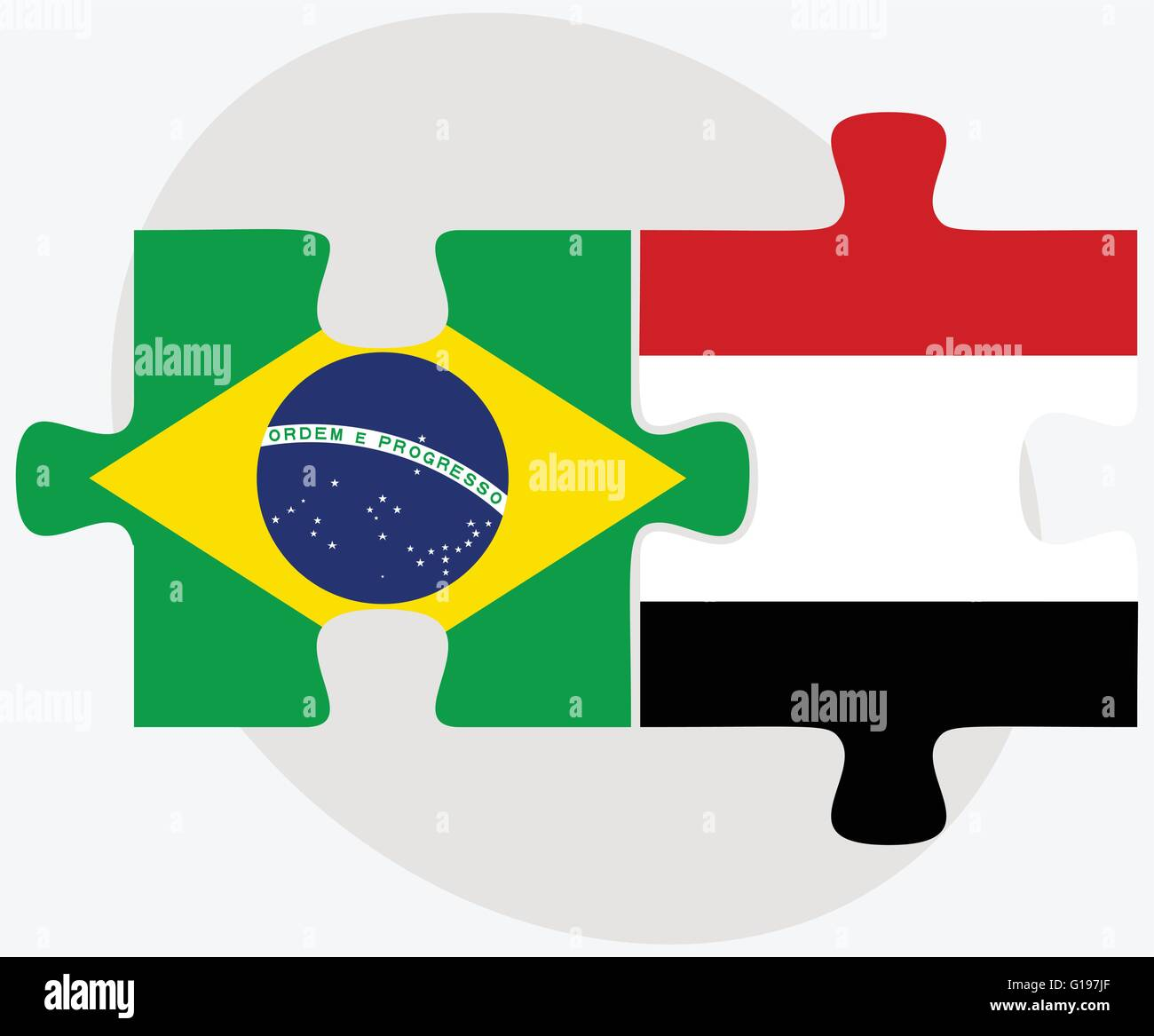 Brazil and Yemen Flags in puzzle isolated on white background - Stock Vector