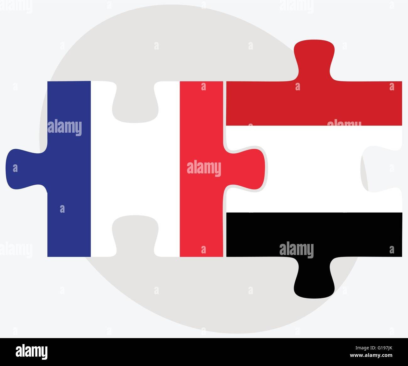 France and Yemen Flags in puzzle isolated on white background - Stock Vector