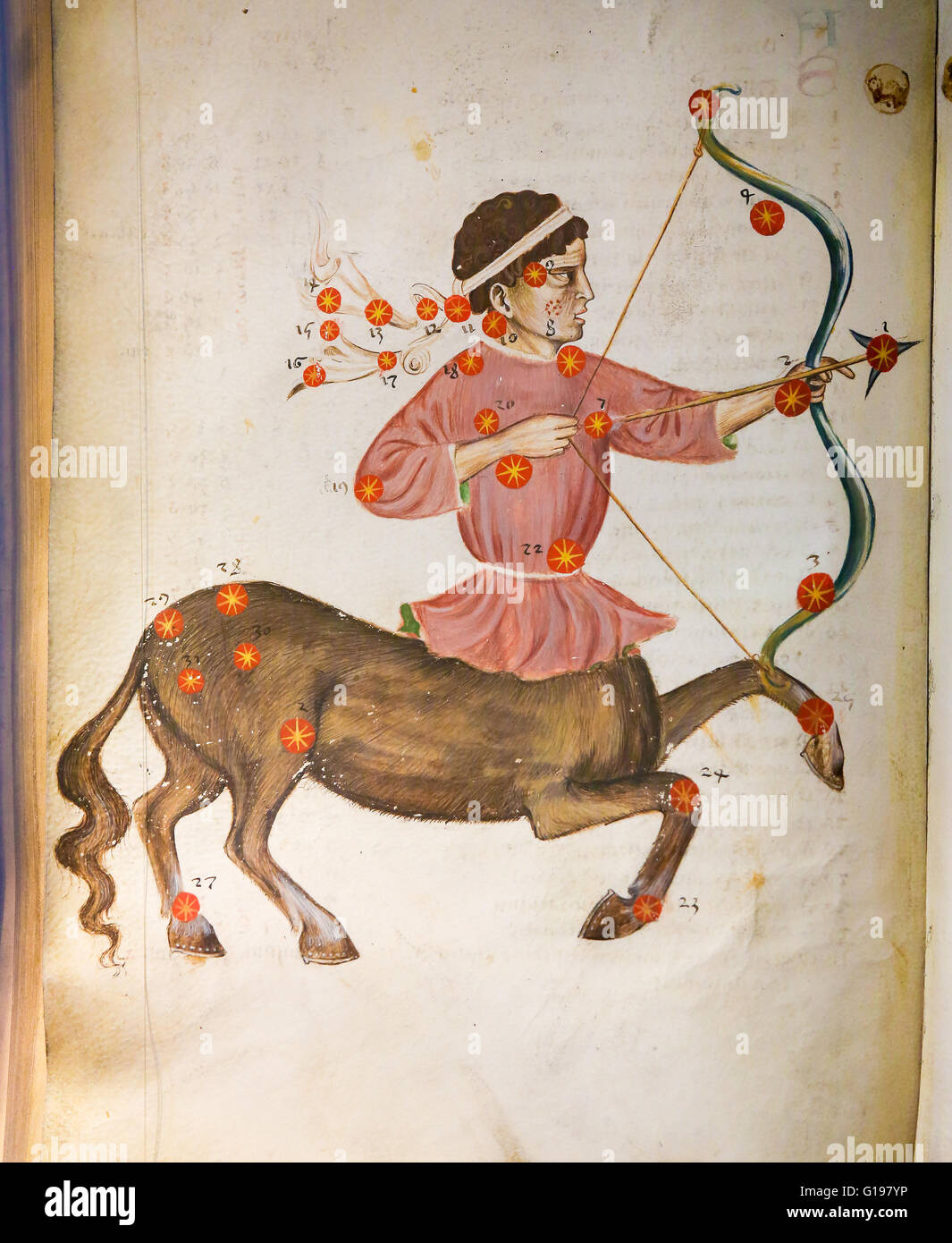 Depiction of the constellation Sagittarius in an antique astrology text - Stock Image