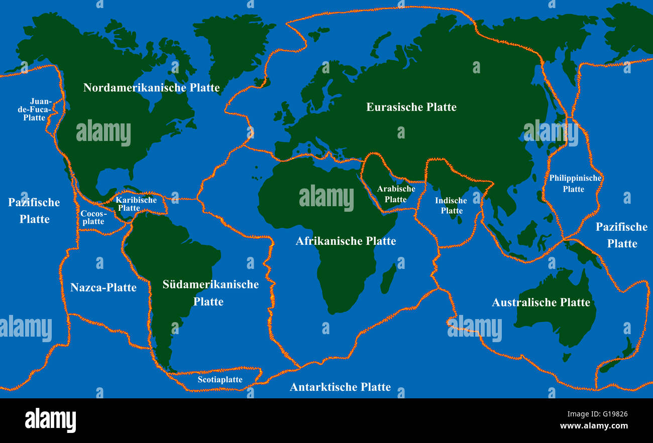 Plate tectonics - world map with fault lines of major an ...