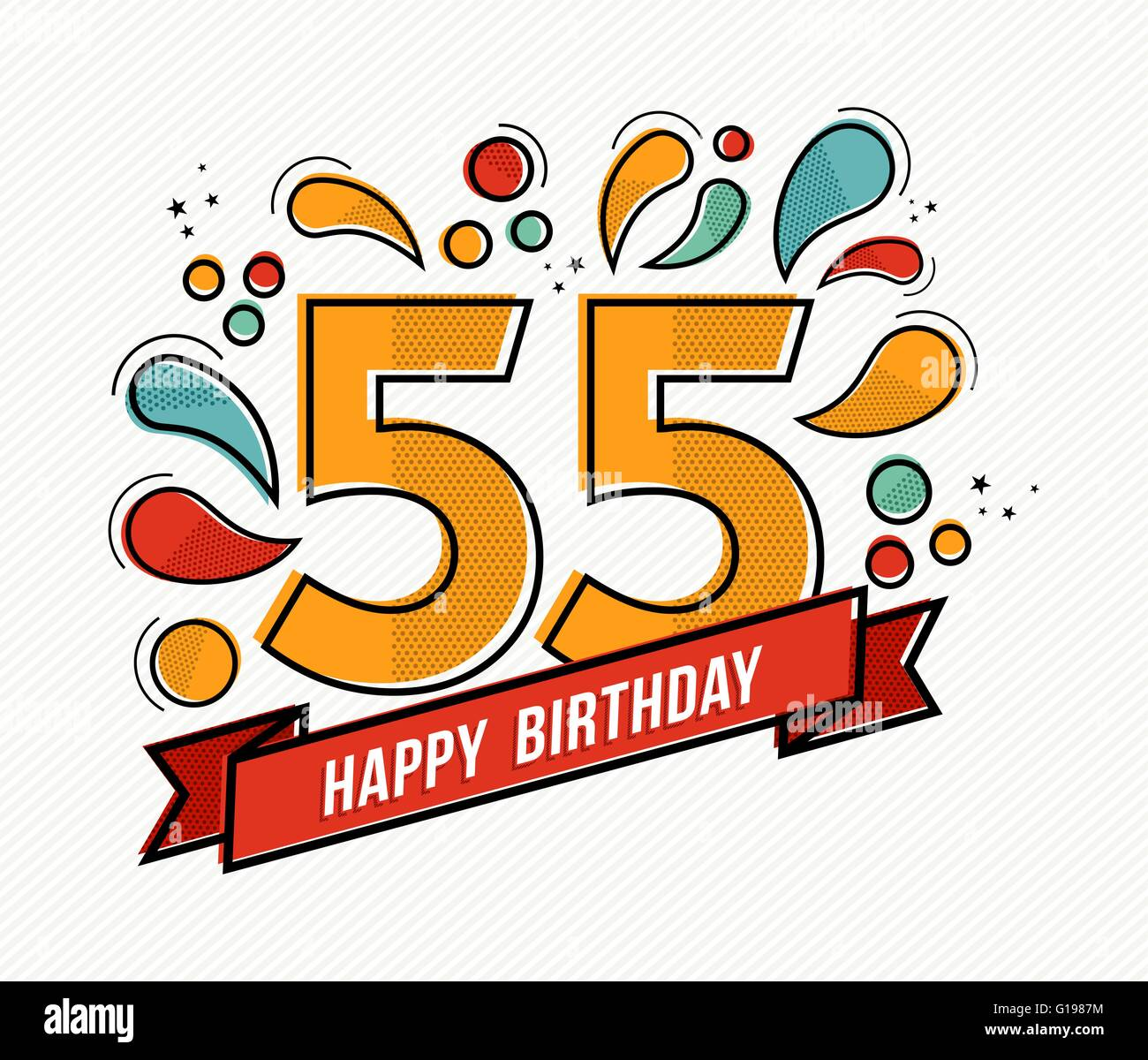 Happy birthday number 55, greeting card for fifty five year in modern flat  line art with colorful geometric shapes. 388364c1bb