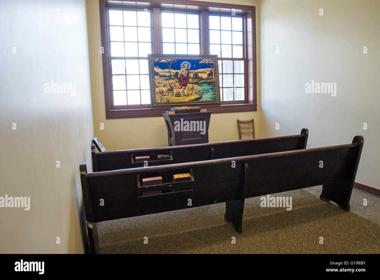 Old time church setting at the High Springs Historical Museum in High Spring, Florida. - Stock Image