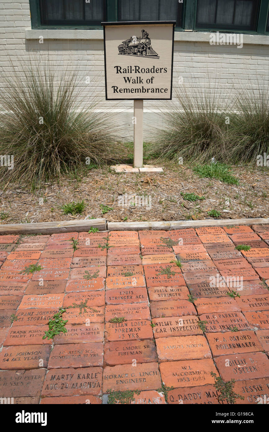 Rail-Roaders Walk of Remembrance is at the High Springs Museum during Pioneer Days annual celebration in High Springs, - Stock Image