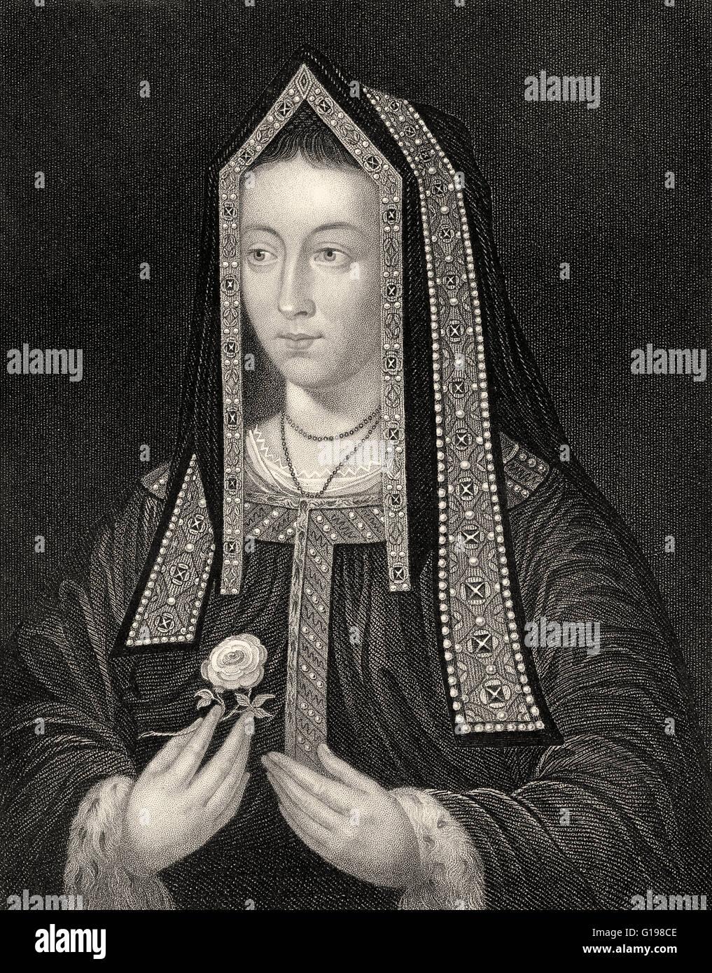 Elizabeth of York, 1466-1503, queen consort of England - Stock Image