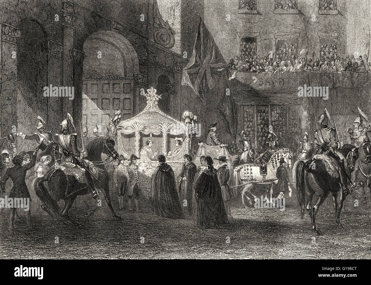 Queen Victoria's first visit to the City of London as queen, Temple Bar ceremony, 1837 - Stock Image