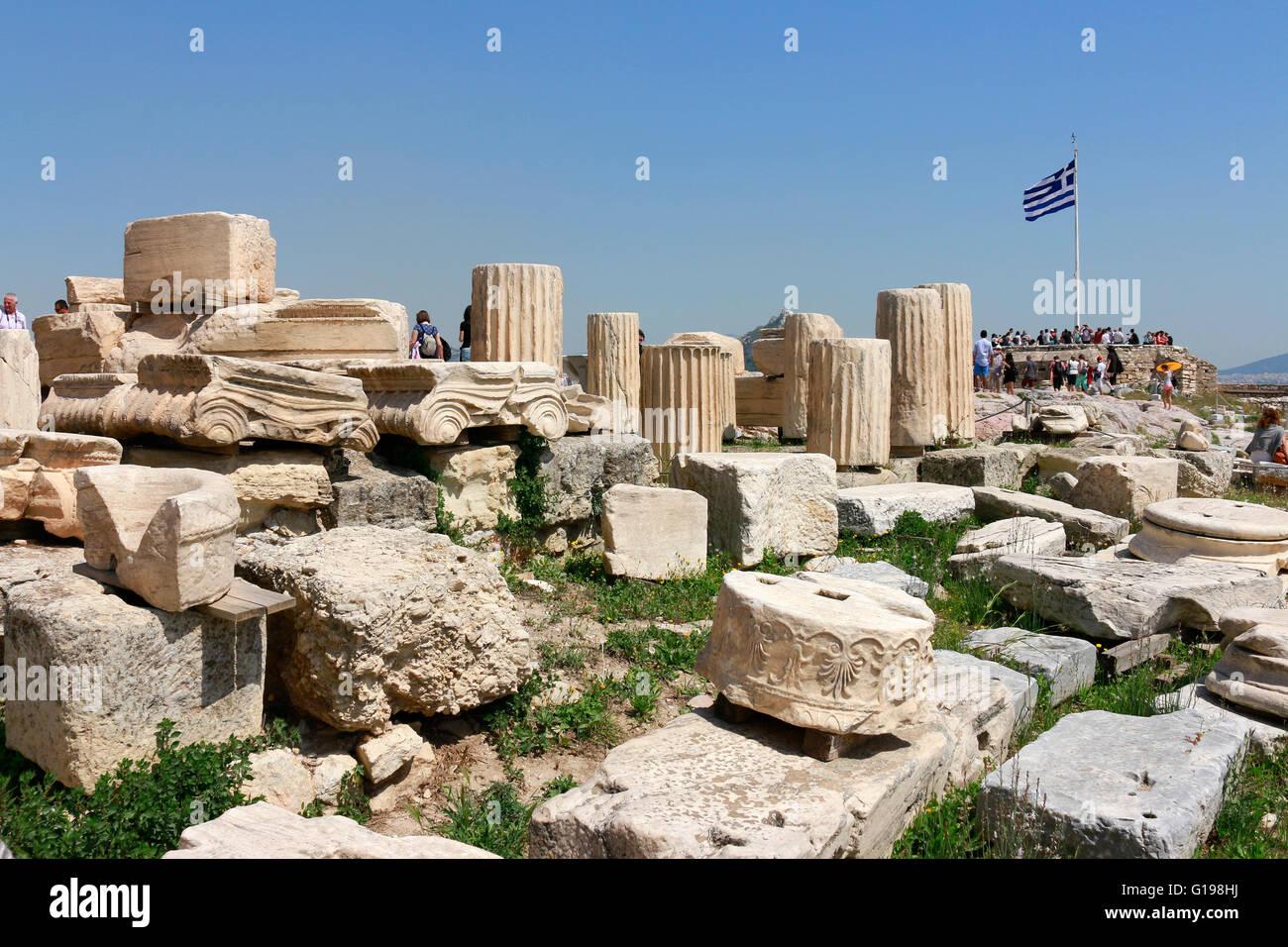 griechische Fahne, Akropolis, Athen, Griechenland. - Stock Image