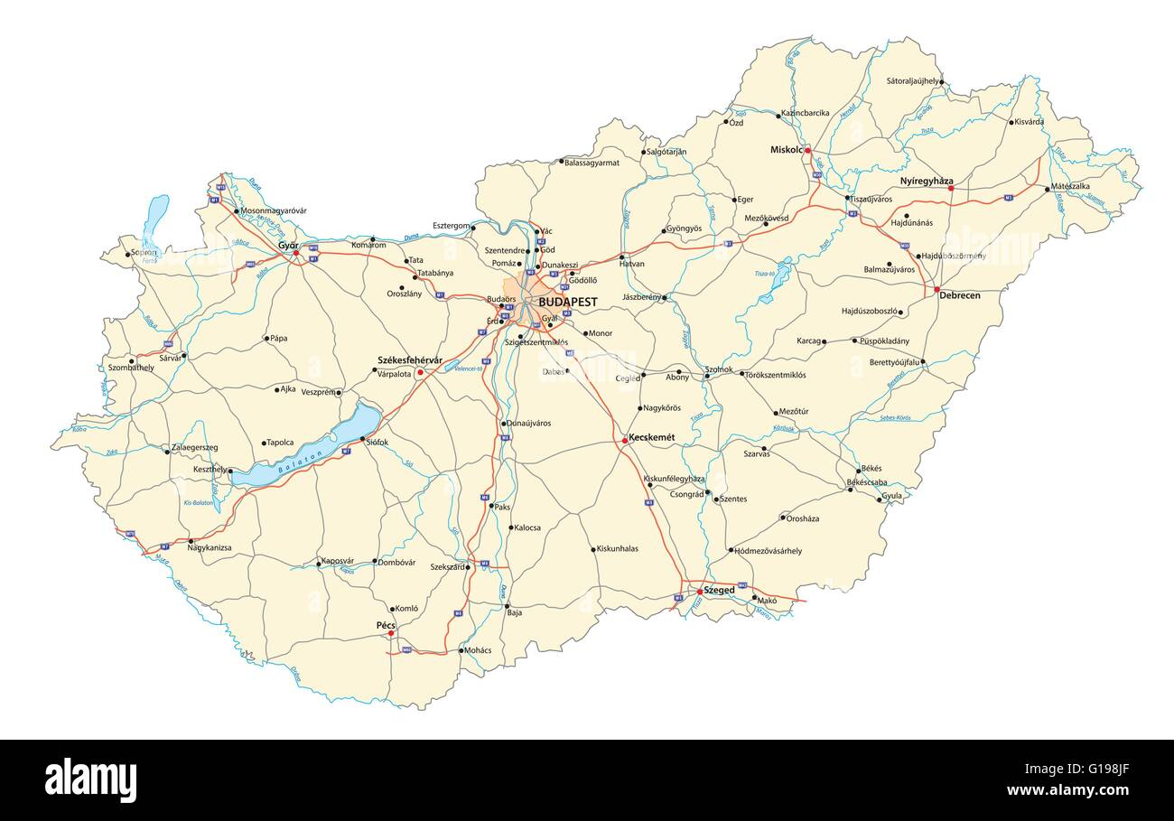 detailed vector road map of hungary with major cities rivers and lakes - Stock Image