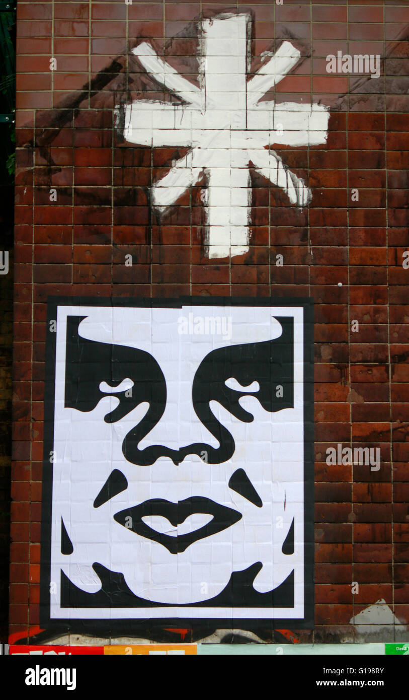 ein Graffity des Street Art Kuenstlers Shepard Fairey aus der 'Andre the Giant'-Serie, Juni 2015, Berlin - Stock Image