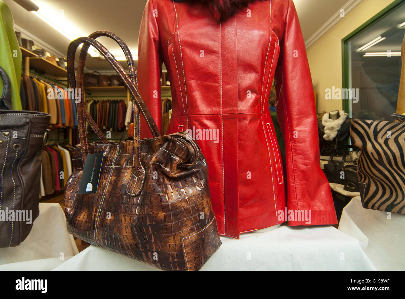Leather Fashion products, Spain Stock Photo