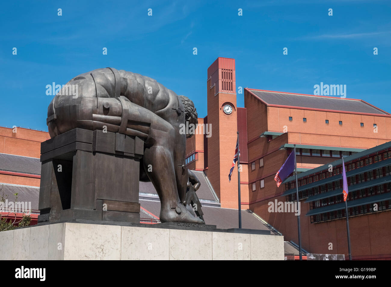 Bronze sculpture (Newton, by Eduardo Paolozzi) in the grounds of the British Library, Euston Road, London, England - Stock Image