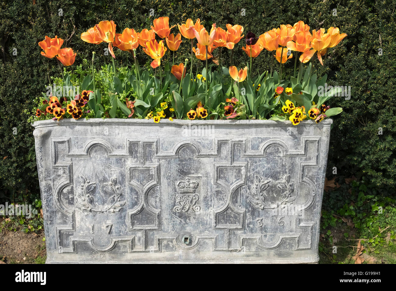 Colourful Display Of Seasonal Spring Flowers In Ornate Regal Stock