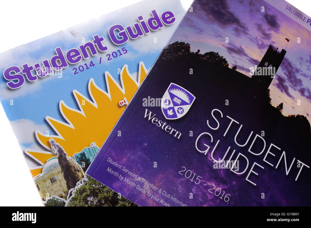 Student Guide books for the Canadian University of Western Ontario photographed against a white background. - Stock Image