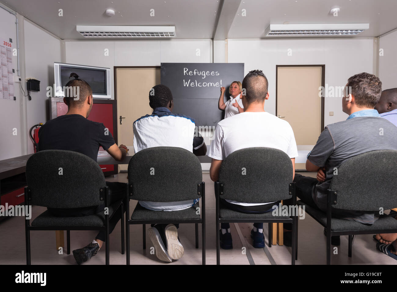 Refugees Welcome - Stock Image