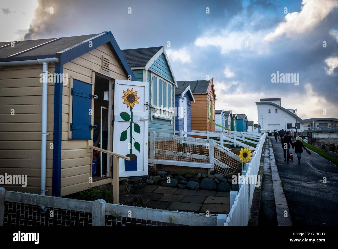 Beach huts at Westward Ho, Devon - Stock Image