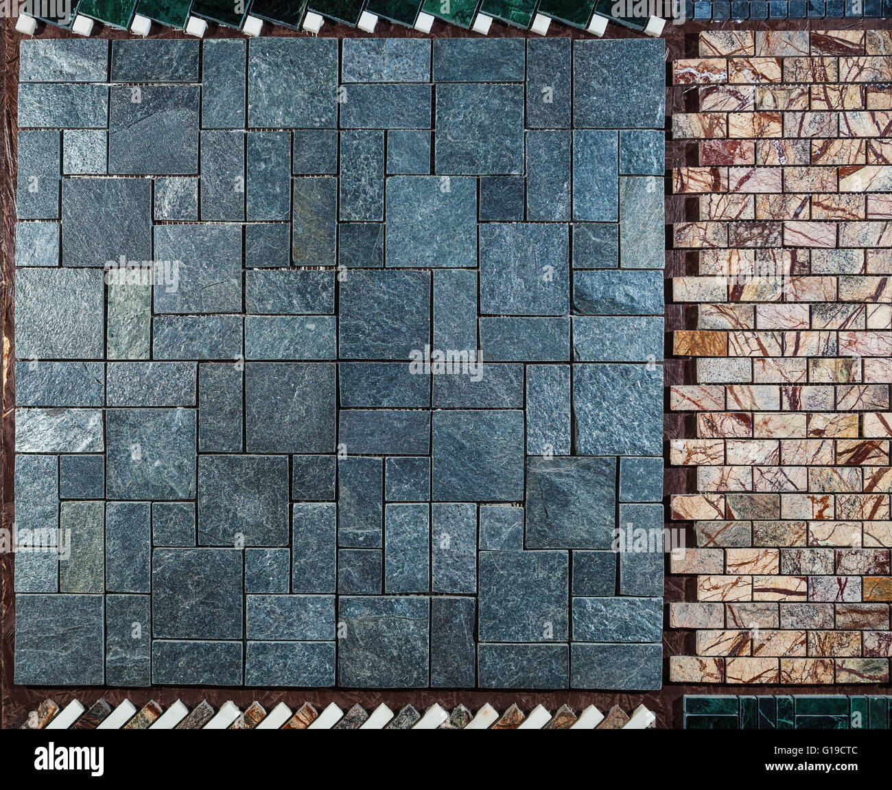 Marble Wall Or Floor Made Of Different Types Of Tiles Stock Photo