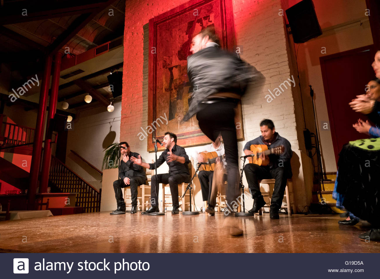 A flamenco dancer in Barcelona, Spain. - Stock Image