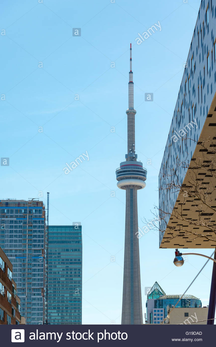 CN Tower unusual angles. OCAD University pov. The Tower is a symbol of Canadian history and a Landmark is visited - Stock Image