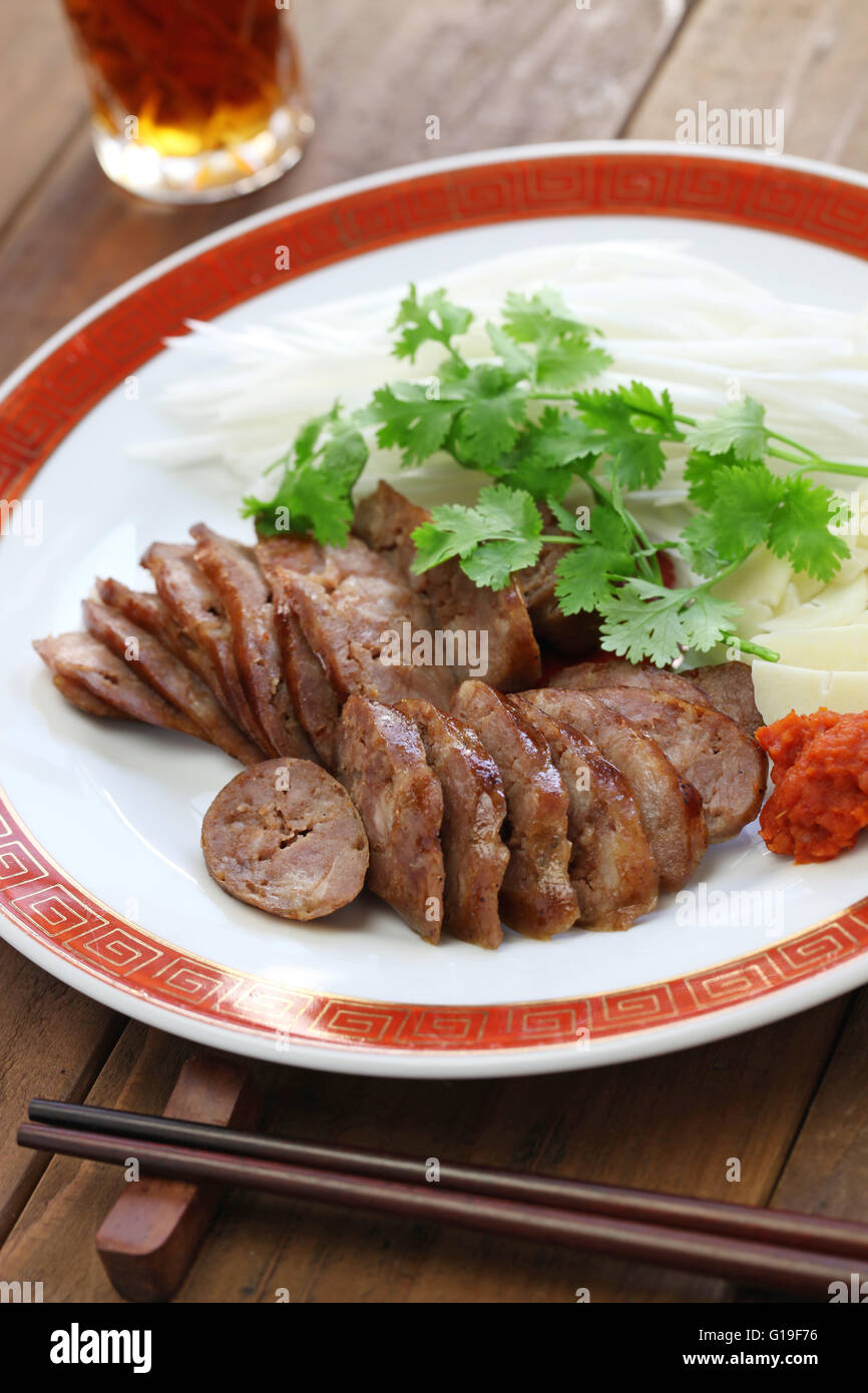 homemade xiang chang, taiwanese sweet pork sausage - Stock Image