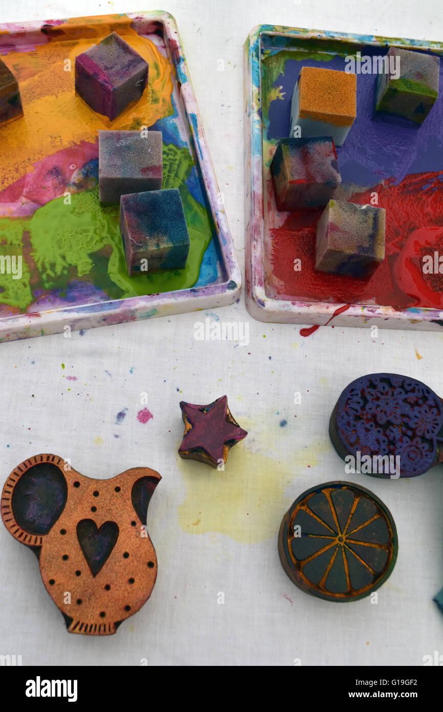 Woodblock printing materials - Stock Image