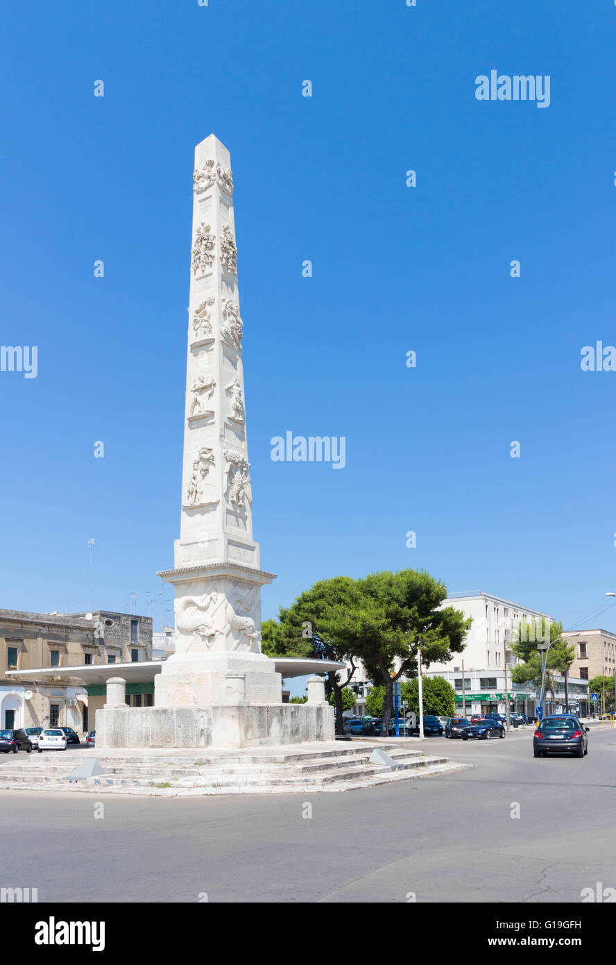 The white obelisk in Lecce - Stock Image