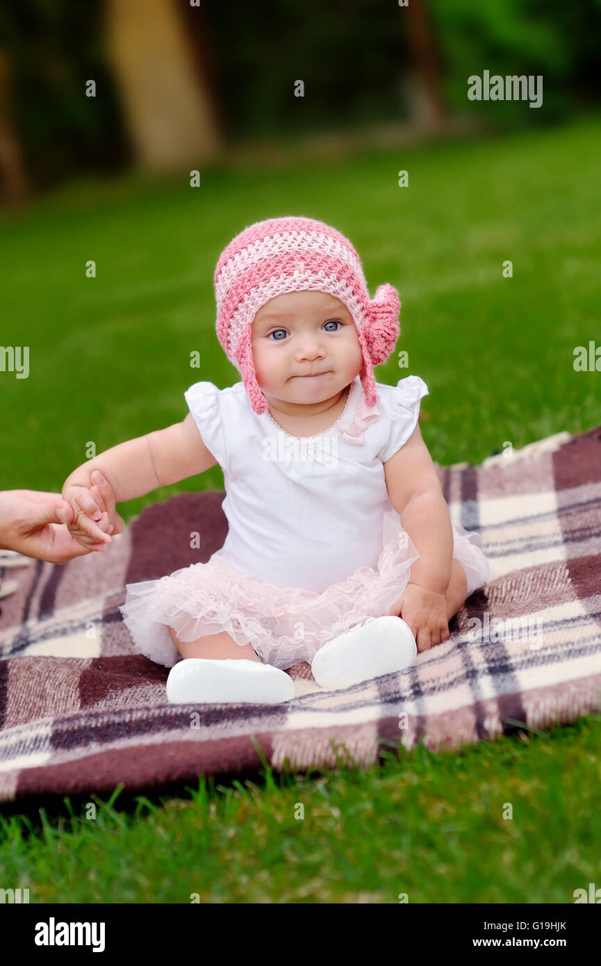beautiful 4 month old baby girl in pink flower hat and tutu Stock ... 6d0519446f3